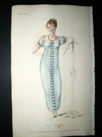 Ackermann 1809 Hand Col Regency Fashion Print. Ball Dress 2-24